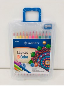 SET LAPICES DE COLORES BICOLOR 12X24 + SACAPUNTAS (SE VENDE X BLISTER)